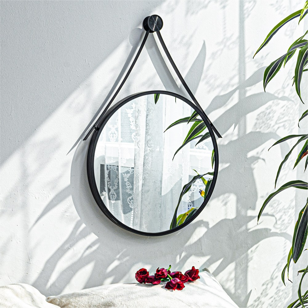 모카 알루미늄 원형 스트랩 거울 (골드 블랙 화이트 핑크 민트), 원형 스트랩 거울 - 블랙