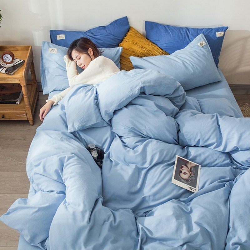 쇼핑바이블 심플 북유럽풍 4종 순면 코튼 학생 기숙사 싱글 침대시트 이불커버 34, M다잉 -라이트 조절된다 블루 CW