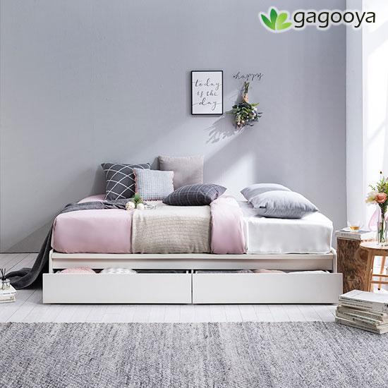 [가구야] 기간한정! 통깔판 서랍형 침대+매트리스, 싱글(화이트)