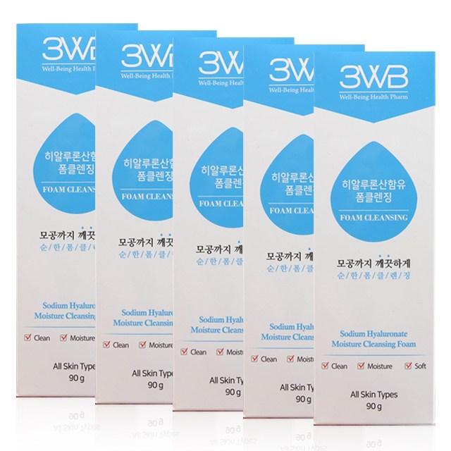 3WB 히알루론산 함유 저자극 순한 클렌징 폼 90g X 5개 3개, 3WB 순한 폼클렌징 5개