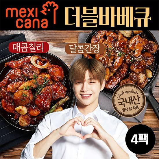 [멕시카나] 순살 더블바베큐 세트4팩, 매콤칠리2팩+달콤간장2팩, 상세설명 참조