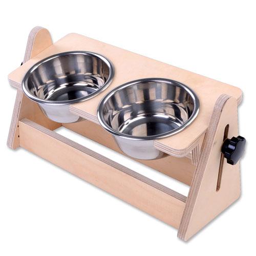 몽몽드 강아지 고양이 반려동물 높이각도조절 식기 스테인레스 2구, 1개