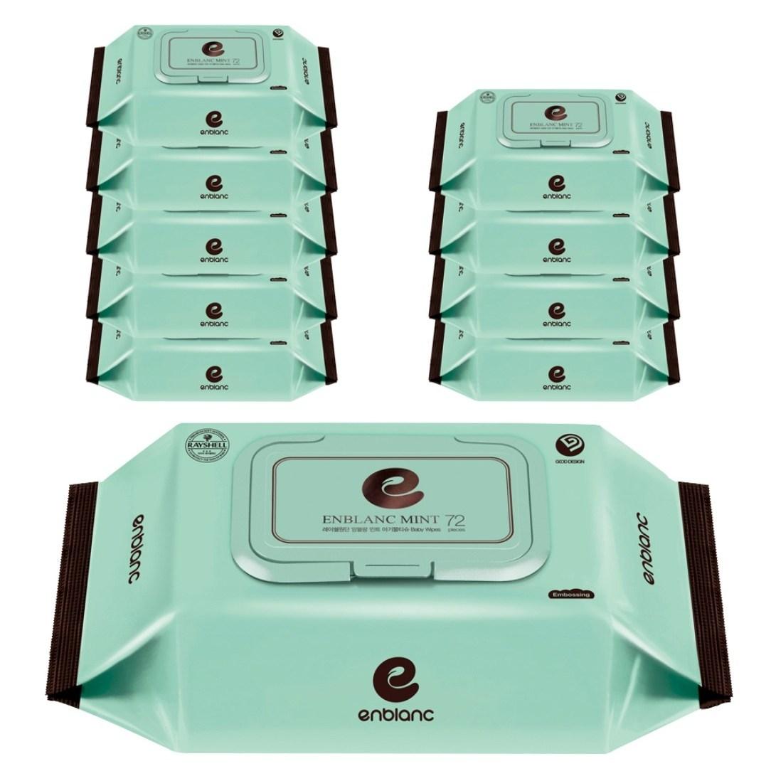 앙블랑 저자극 아기물티슈 민트 캡형, 72매, 20팩