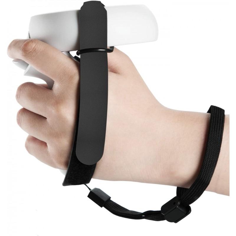 (1 쌍) 오큘러스 퀘스트 2 VR 게임용 헤드셋 컨트롤러 핸들 떨어뜨리기 방지 - 검은색 손 그립 스트랩 액세서리, 단일옵션