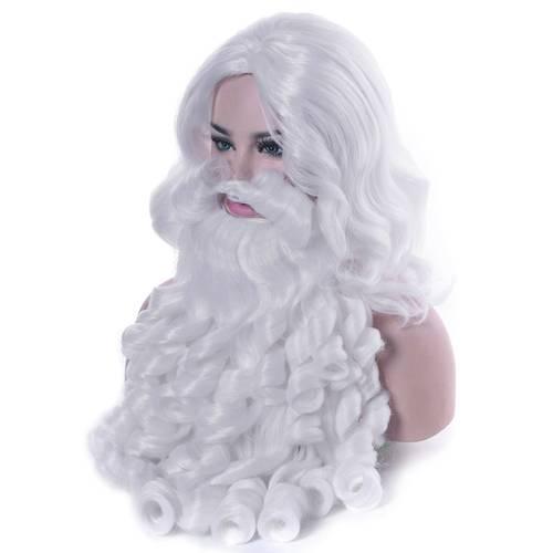 산타 클로스 가발 수염 크리스마스 파티 -30를위한 긴 백색 공상 복장 복장