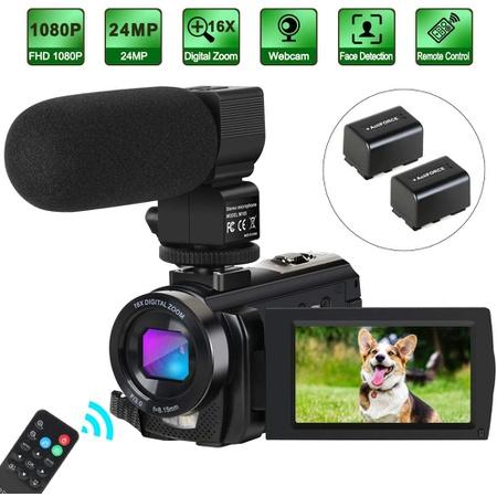해외Aabeloy 캠코더 비디오 카메라 디지털 유튜브 블로깅 카메라 HD 1080P 30FPS 24MP 16X 디지털 줌 7.6c, 상세 설명 참조0
