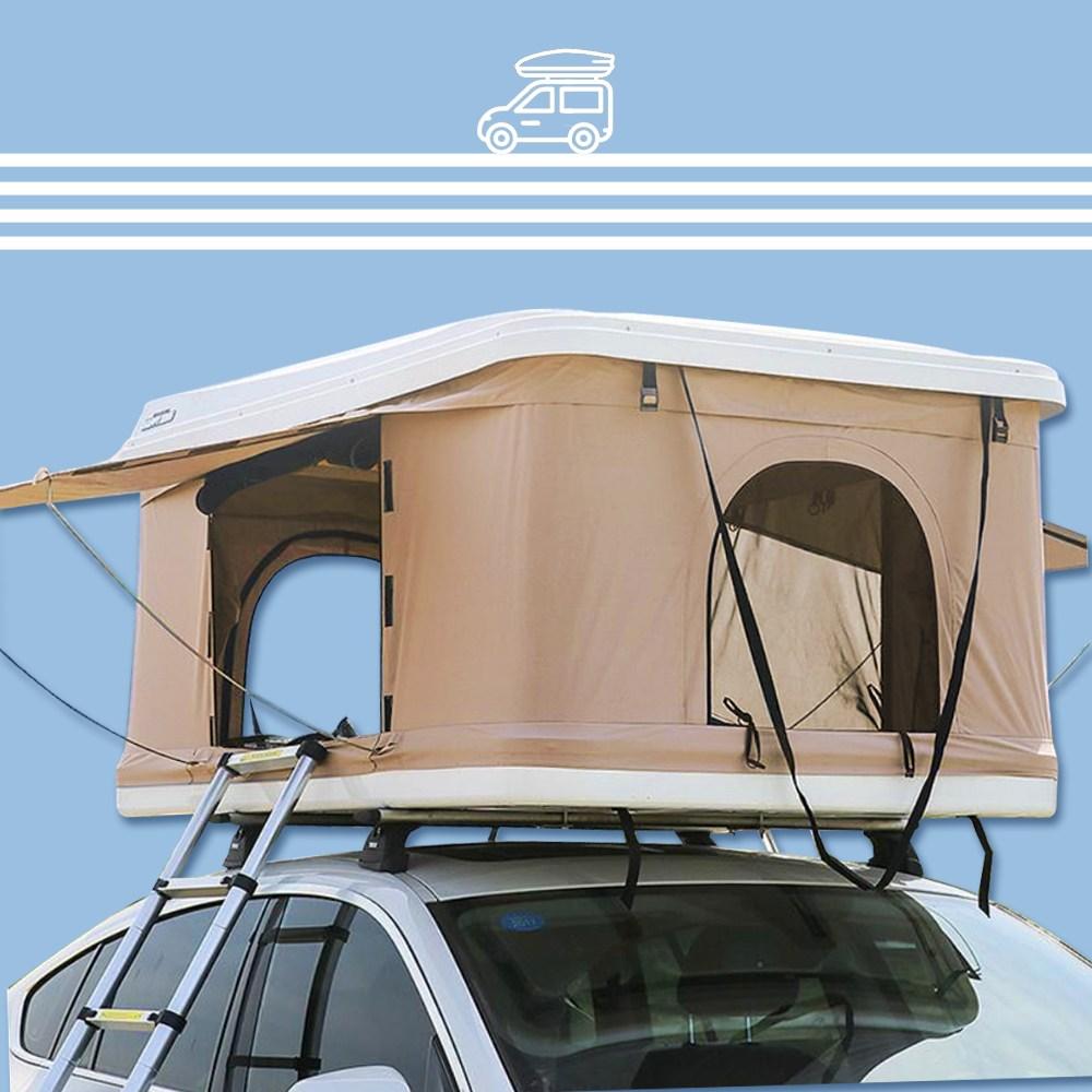 차량용텐트 루프탑 하드탑 텐트, 화이트루프탑+베이지텐트