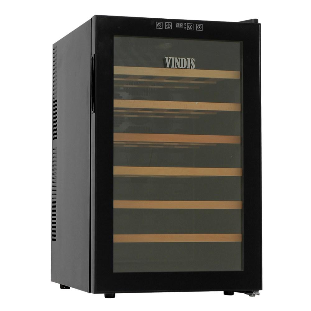 빈디스 가정용 저소음 우드 와인 셀러 냉장고 대형 28병 BW-70D1