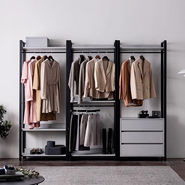 [삼익가구]NEW폰드 드레스룸 2400 세트(B타입), 그레이