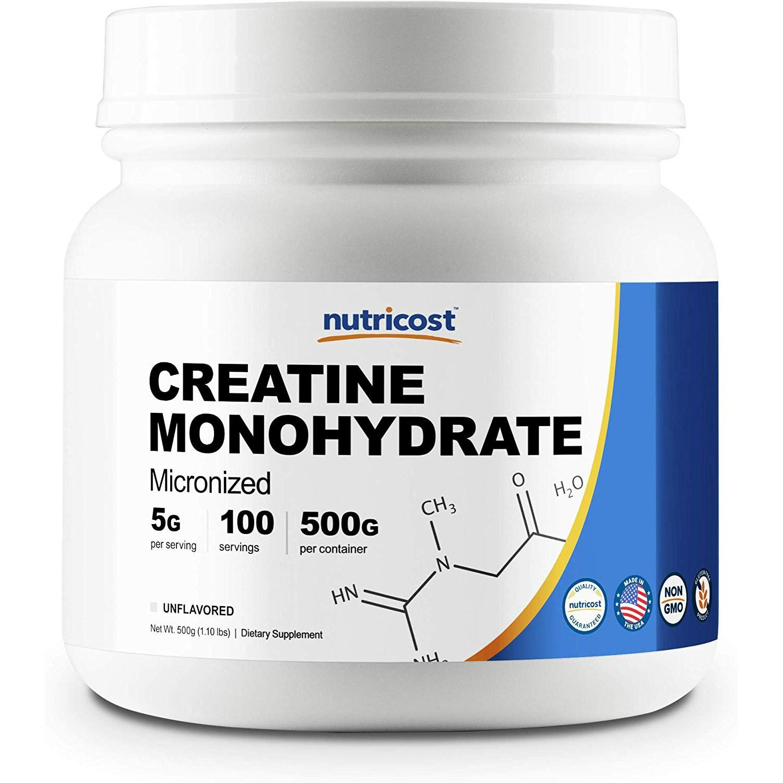 Nutricost 마이크로나이즈드 크레아틴 모노하이드레이트, 500g, 언플레이버드(Unflavored)