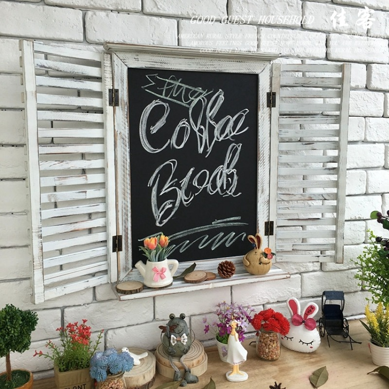 홈카페 홈포차 유럽 미국 복고풍 바 커피 숍 장식 나무 칠판, 훅 화이트가없는 블라인드