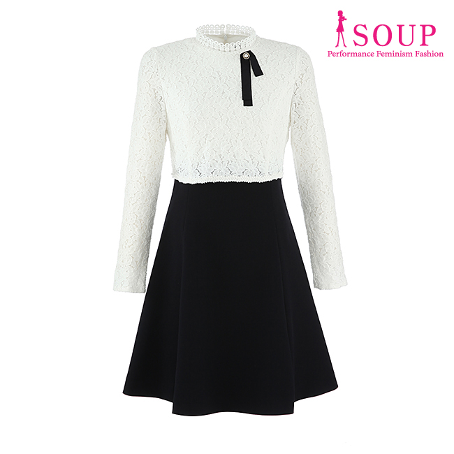 SOUP 레이스 포인트 핏앤플레어 원피스(SU2OPM2)