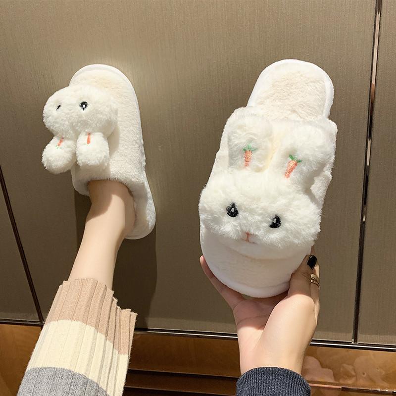 Jan.14 31번 큐티 토끼 패딩 슬리퍼 가을 겨울 신상백 패션 반슬리퍼 학생 털슬리퍼Z