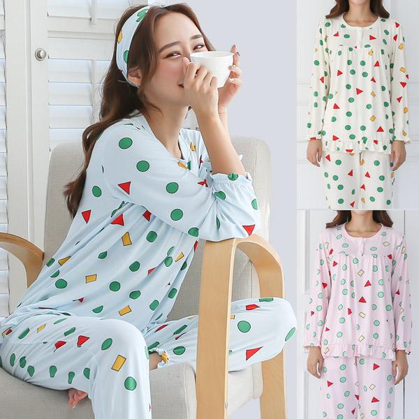 토마토팩토리 도형패턴 사계절잠옷 파자마 상하세트 + 헤어밴드 피치기모잠옷 홈웨어 수면잠옷 세트 수면바지 여자 여성