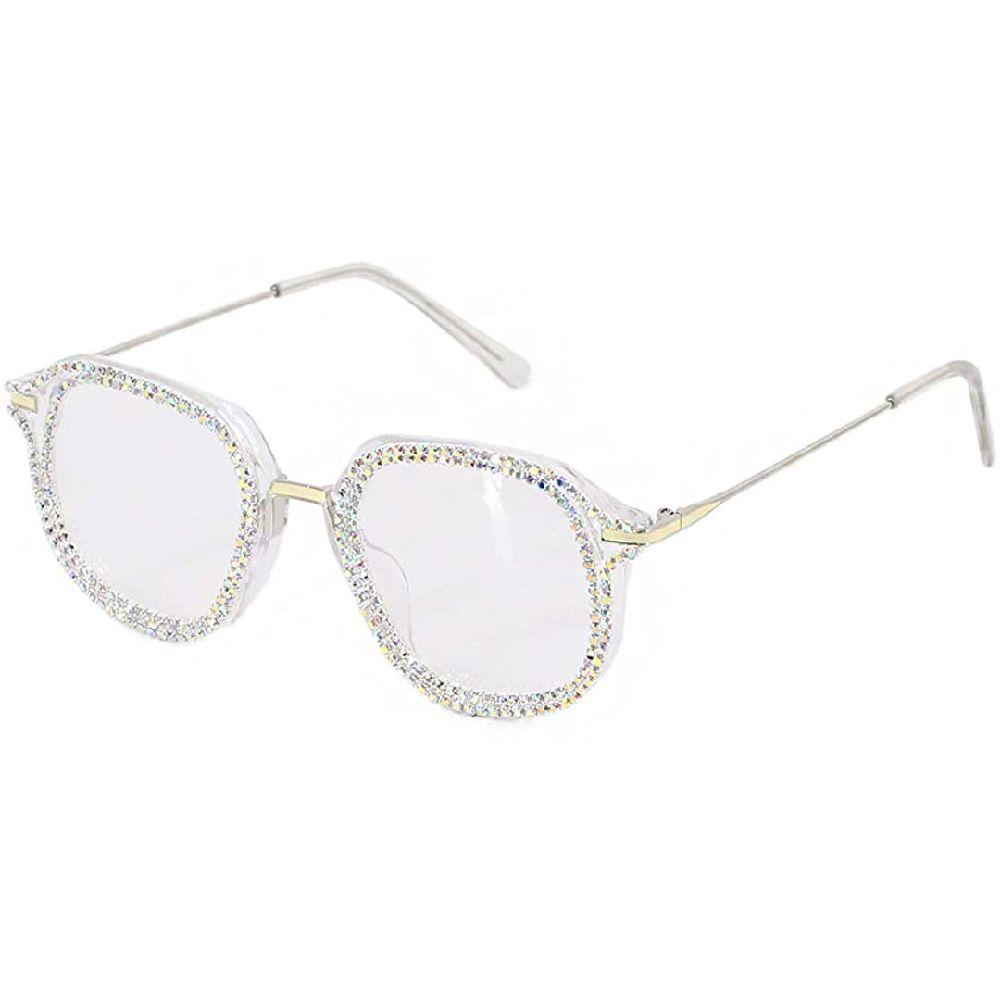 Surkat 여성을 라운드 빈티지 선글라스 라인 석 장식 태양 안경