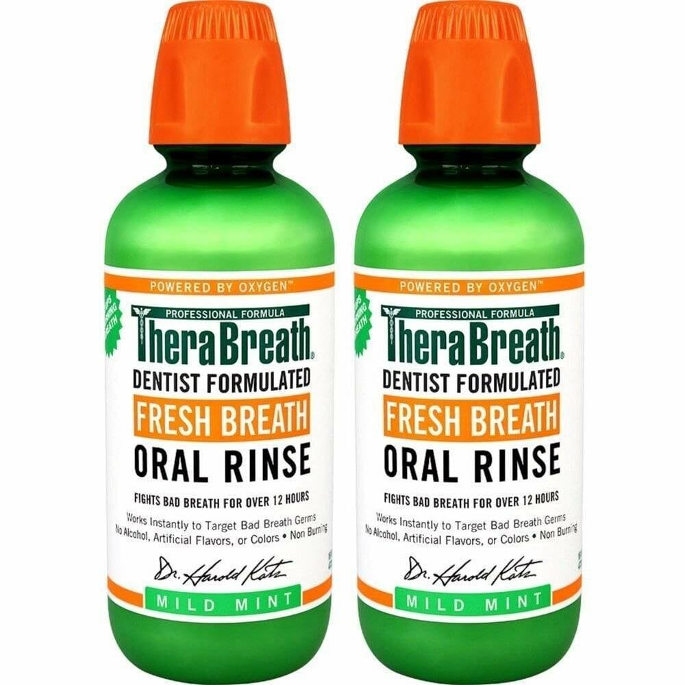 테라브레스 TheraBreath 프레시브레스 린스 민트 Fresh Breath Rinse Mint 16oz(473ml) 2통, 1개