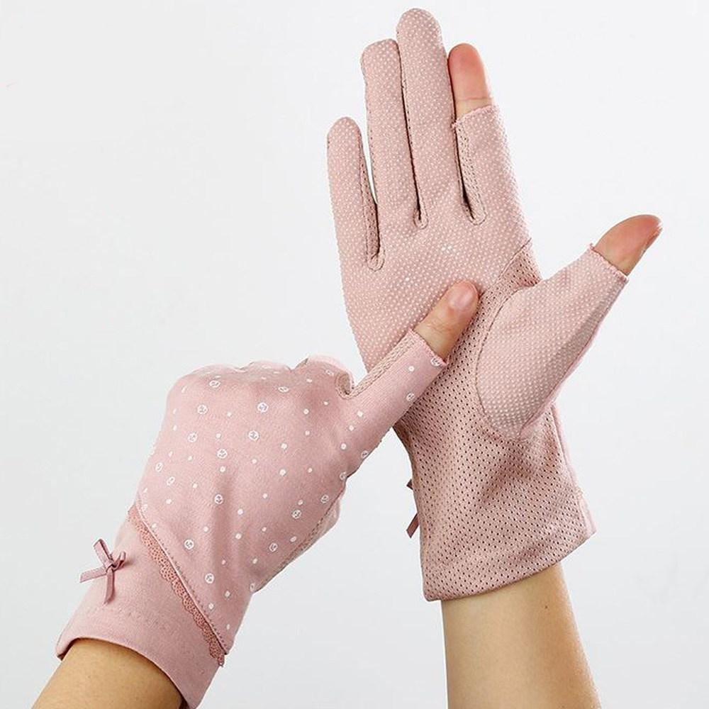 딸기공주 여성 여름 장갑 반장갑 운전 등산 손가락 터치 레이스 얇은 여자, 핑크