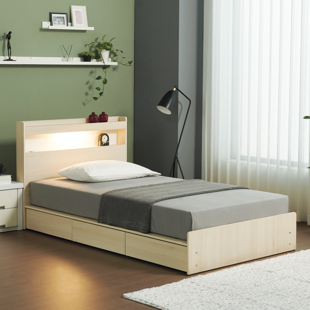 젠티스 LED 3단 멀티수납 평상형 슈퍼싱글 퀸 침대프레임 (매트선택), B. 브루노 (아카시아)