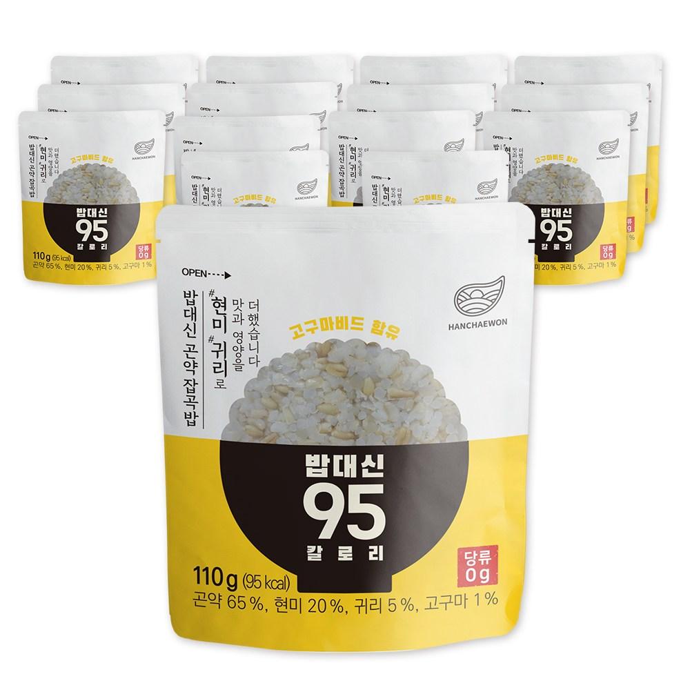한채원 밥대신 95 칼로리 귀리 현미 곤약밥, 110g, 15팩