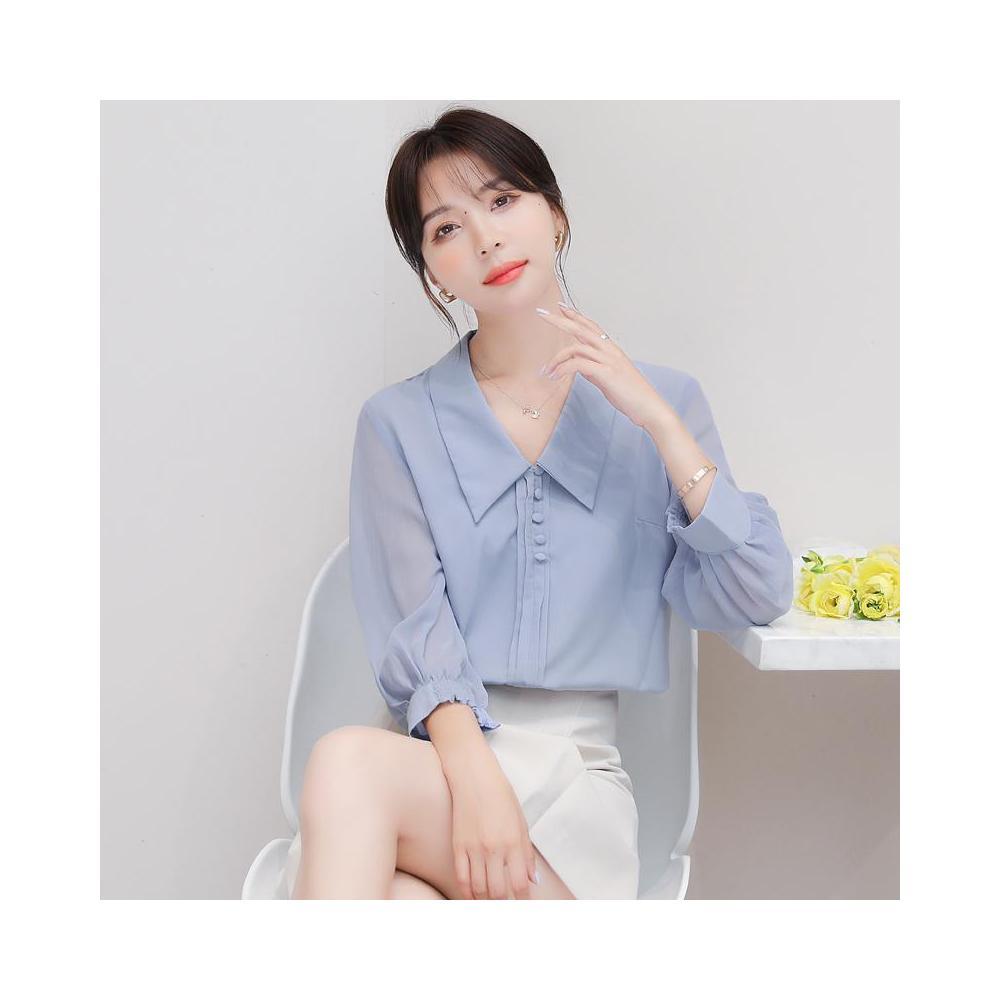 알지구 썸머 블라우스 2020 가을 새로운 스타일 통근 간단한 스트레이트 쉬폰 셔츠 여성