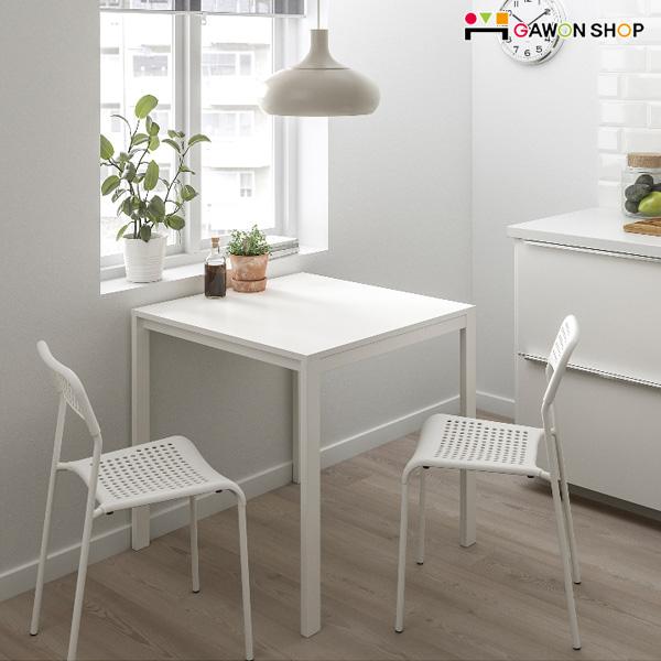 이케아 MELLTORP-ADDE 2인용 테이블세트, 테이블1개(화이트)+의자2개(그레이)