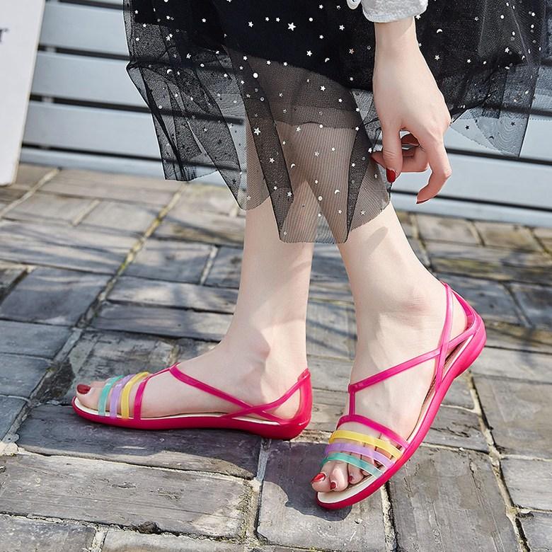 알렉사청젤리슈즈 장마 젤리슈즈 비오는날 샌들 구두 쪼리 장화 여성 여름 플라스틱 중공 비치 신발 크리스탈 작은 뒤꿈치 젤리 신발