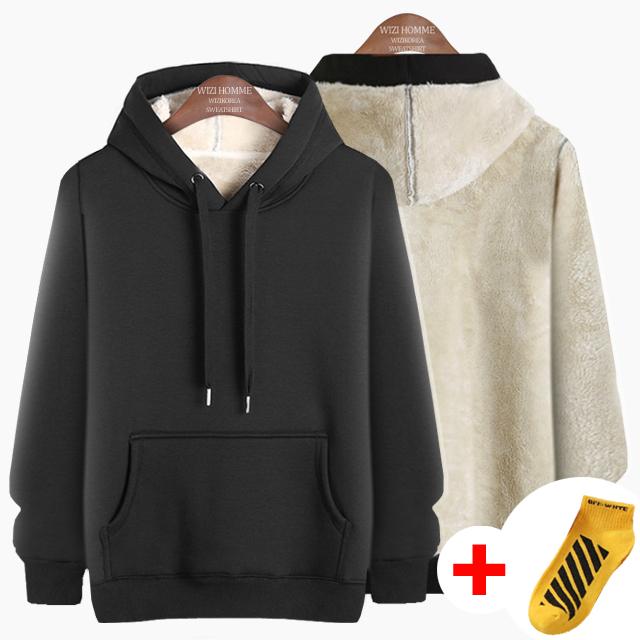 위즈아이 남성 겨울 양모 후드티 양털 기모 티셔츠 WI022H+국내발송+양말증정