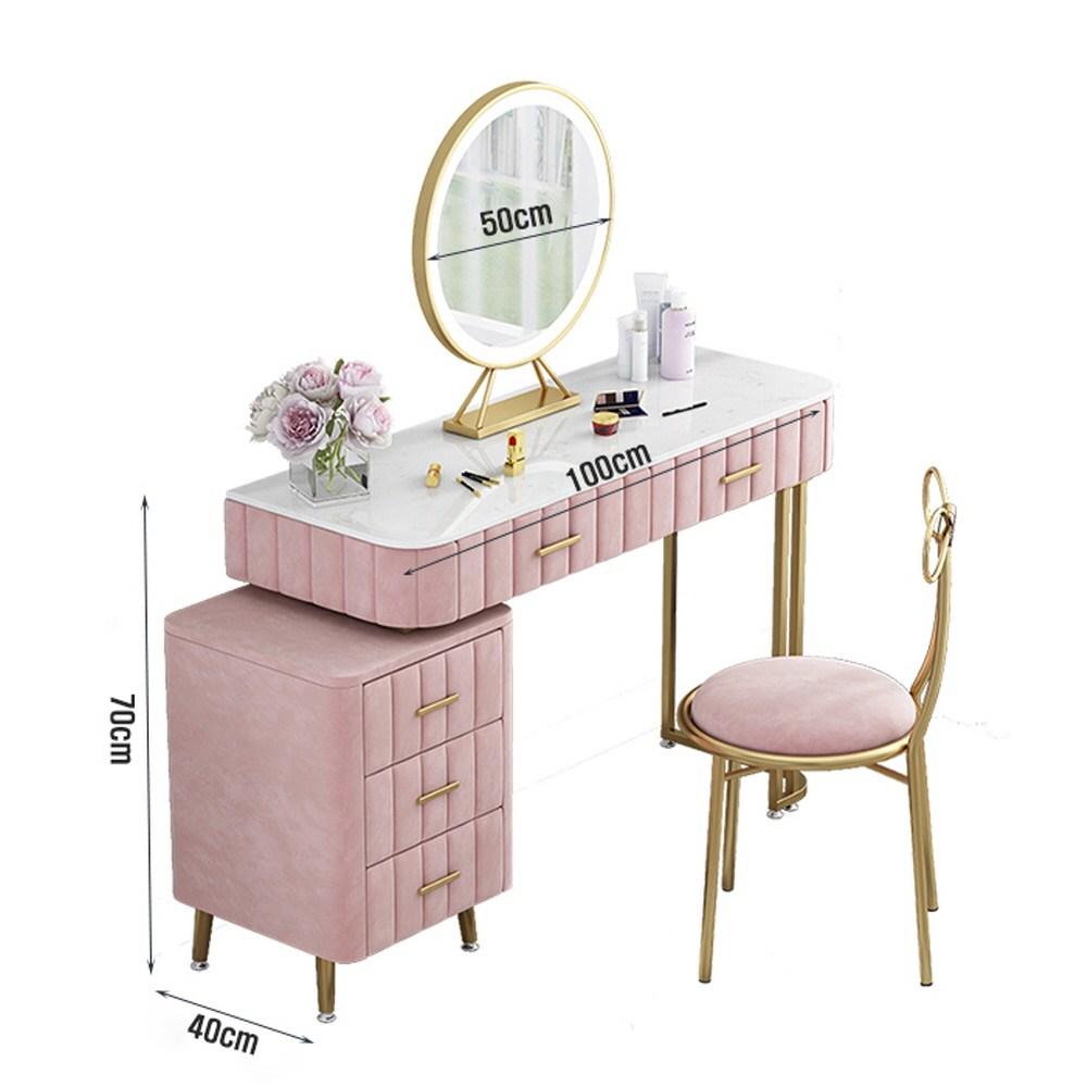 VEL 북유럽 대리석 화장대세트 벨벳 골드프레임 서랍형 LED조명 거울 리본의자 포함, 핑크 중형 100cm (LED거울+리본의자 포함)
