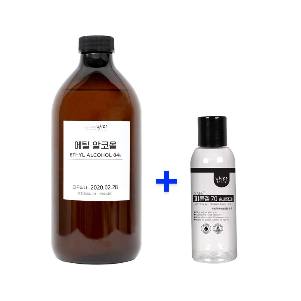 [맑을담] 소독용 에탄올 식물성 에탄올 에틸알코올84% 1L 손세정제증정, 단품