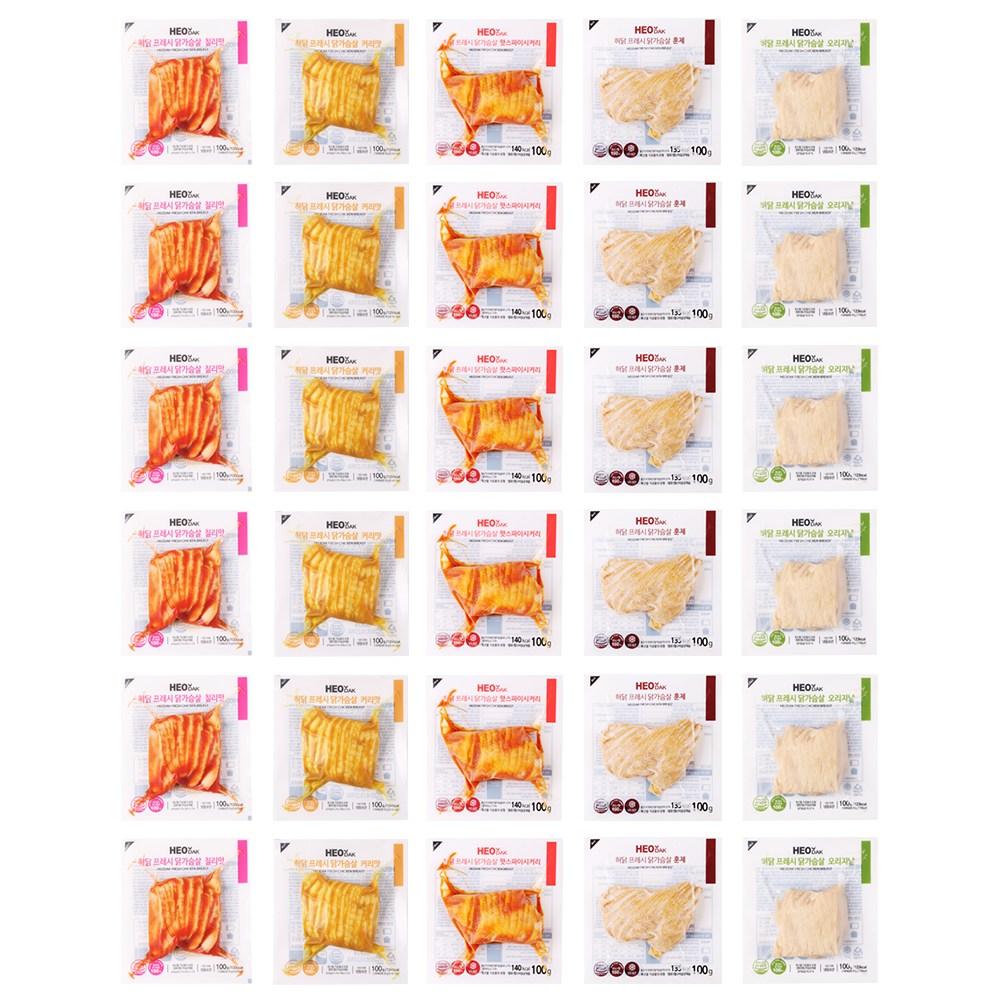 허닭 [본사당일출고] 프레시 슬라이스 닭가슴살 100g 5종 혼합30팩, 30개