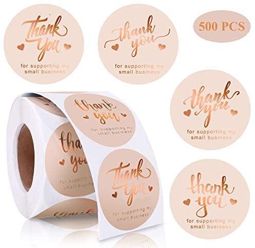 [해외직구]Easier ZZ 1.5 Thank You for Supporting My Small Business Stickers Round Classy Rose Gold, Pink_One Size, 1개, Pink