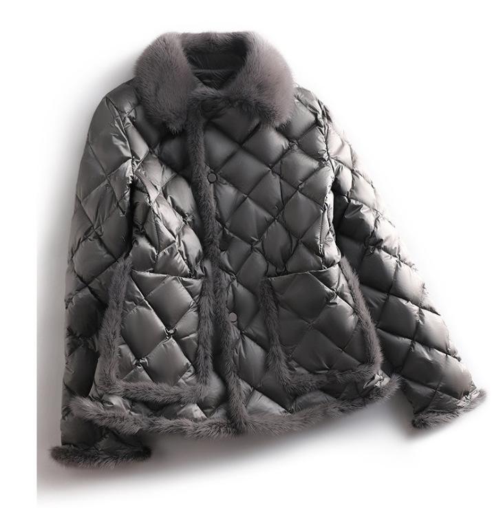 짧은 다운 코튼 패딩 의류 여성 의류 2021 겨울 새로운 온라인 밍크 양모 바느질 따뜻한 코튼 패딩 코트 유행