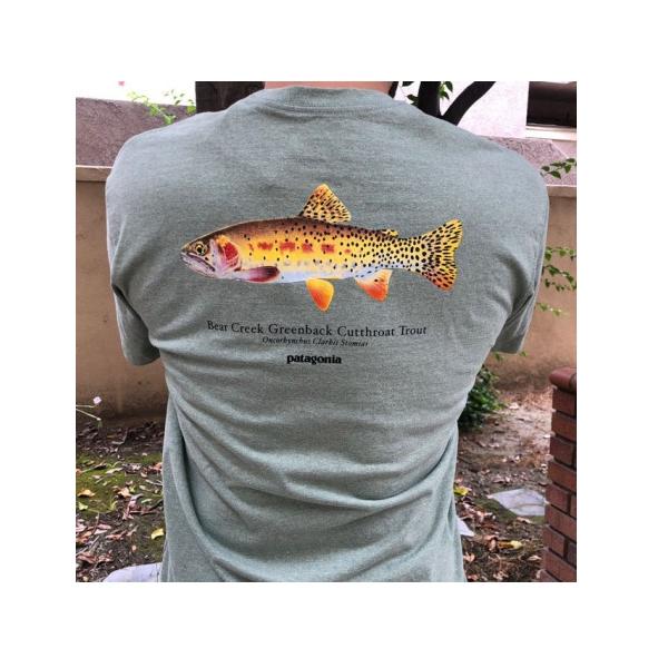 [이라운드몰]파타고니아 월드 트라우트 리스판서블 물고기 프린팅 반팔 티셔츠