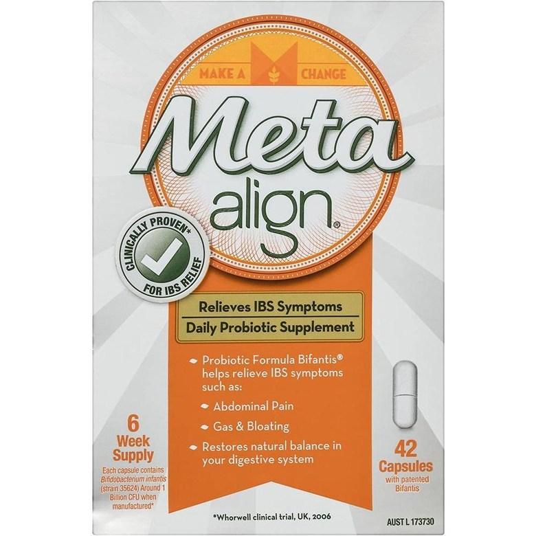 직구 acidophilus Meta Align-과민성 대장 증후군 및 복통 가스 및 팽창을 포함한 증상 완화를위한 일일 프로 바이오 틱 보충제-42 캡슐 [호주 버전], 1set, 1set