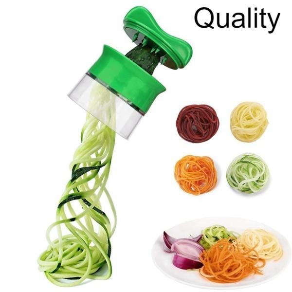 A046 스파이럴라이저 월남쌈채칼 채소면기계 야채제면기 회전채칼 채소면 채소면뽑는기계, 녹색 나선형 커터