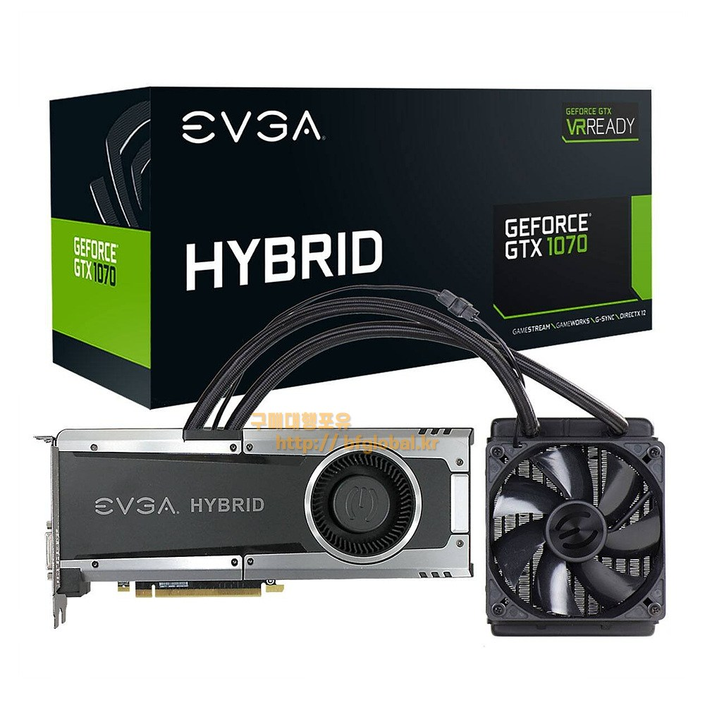 EVGA GeForce GTX 1070 HYBRID GAMING 8GB GDDR5 그래픽카드, 08G-P4-6178-KR