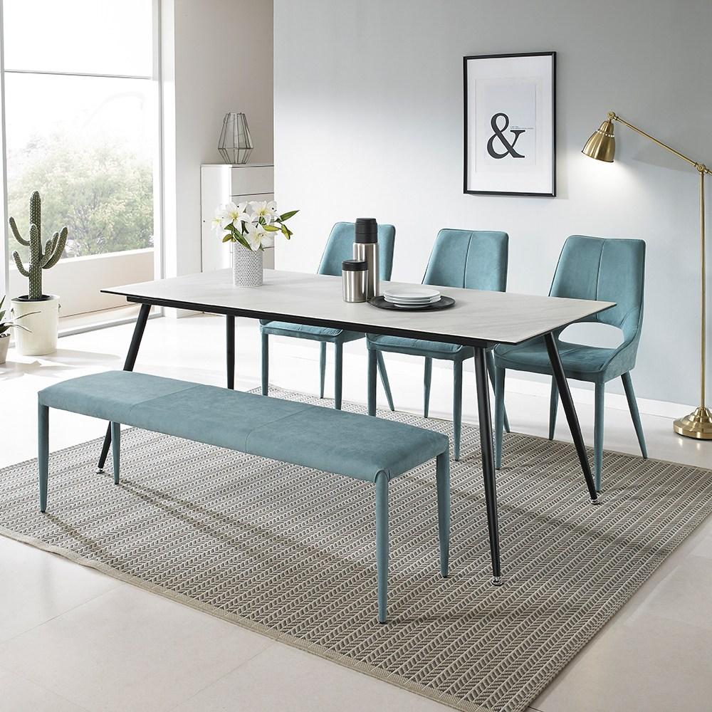[로드퍼니처] 토파즈 이태리 세라믹 식탁세트 /4인용/6인용, 1300사이즈-화이트 상판+의자(일반4)