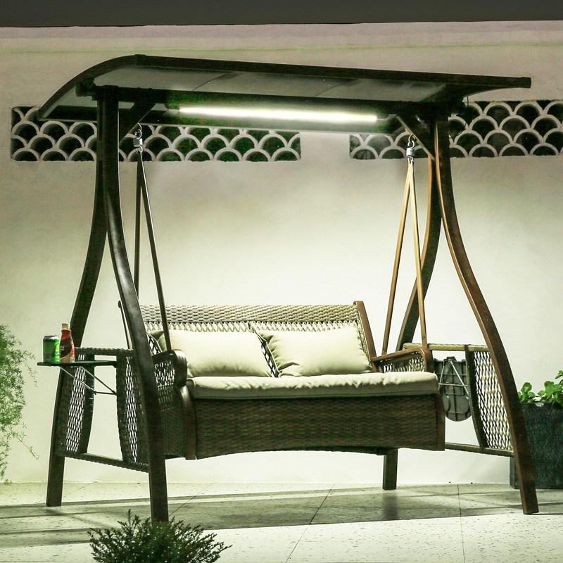 정원 발코니 흔들 그네 해변느낌 그네 그네 야외정원 흔들의자 별장 마당 다인등의자 요람의자 등나무가든 그네의자 00174509, 편도 그네 태양광벨트램프 PVC 방우선반 티 테이블