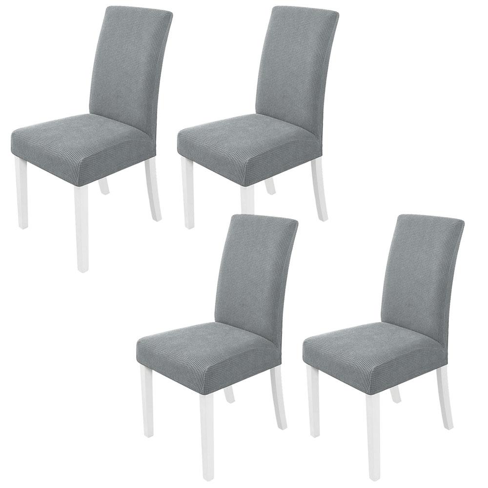 민스리빙 모던 와플 의자커버 4P 식탁 의자 시트 방석, 그레이 4개