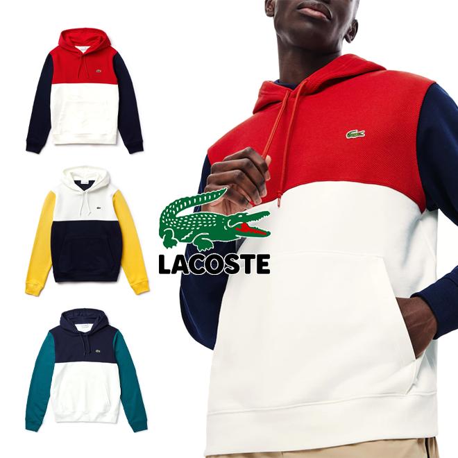 라코스테 프렌치테리 컬러블락 후드티셔츠