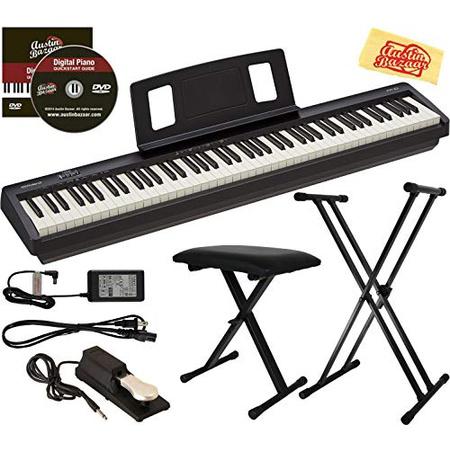 롤랜드 FP-10 디지털 피아노 번들 (조절 식 스탠드 벤치 서스테인 페달 오스틴 바자 교육용 DVD 및 연, 조절 식 스탠드가있는 번들