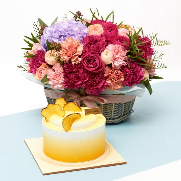 뚜레쥬르 고구마라떼케익+프랑디 카네이션꽃바구니 꽃배달 어버이날 선물