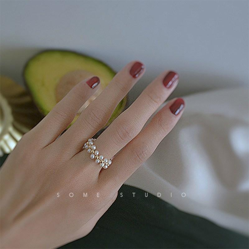 진주반지 진주 반지 여성 ins유행하는 일본스타일 개성 복고 둘째손가락 편직 심플 대중적인디자인