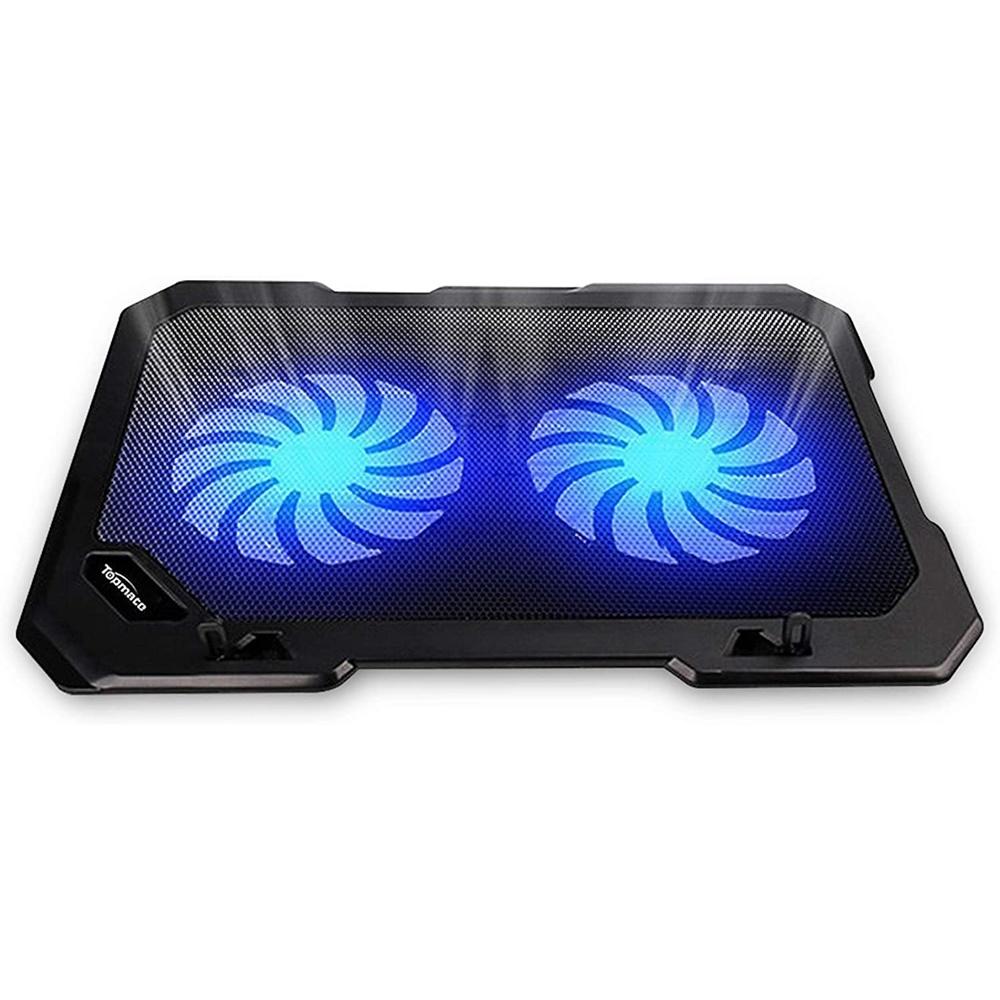 쿨링 받침대 TopMate C302 10-15.6 노트북 쿨러 냉각 패드   울트라 슬림 휴대용 2 개의 저소음 대형 팬 1300RPM (USB 라인 내장)