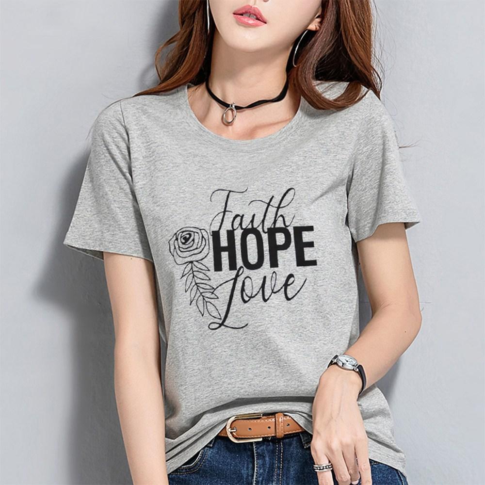하나홀릭 여성용 페이스 러브 프린팅 반팔 티셔츠 HTS_519
