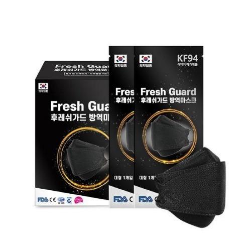후레쉬가드 KF94 마스크 대형 블랙 황사방역용 50매입 개별포장 식약처허가, 1개