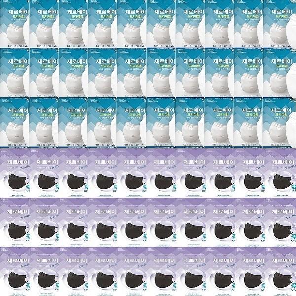 제로베이 프리미엄 KF94 마스크 60매(화이트30매+블랙 30매), 1set
