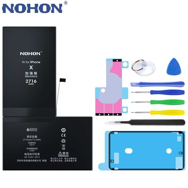 NOHON 노혼 배터리 대 한 iPhone SE 6 6S 7 8 Plus X XR XS Max iPhone7 iPhone6S 플러스 교체 Battery Hot Deal, For iPhone X 2716mAh