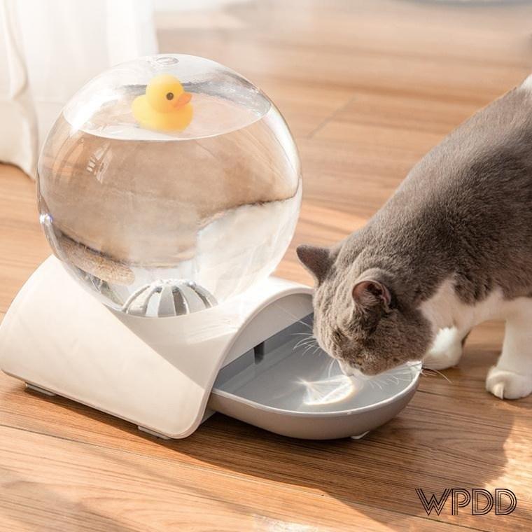 위풍댕댕 수정구슬 반자동 급수기 무전력 무소음 정수기 2.8L 고양이음수대 강아지물그릇, 구슬급수기 그레이
