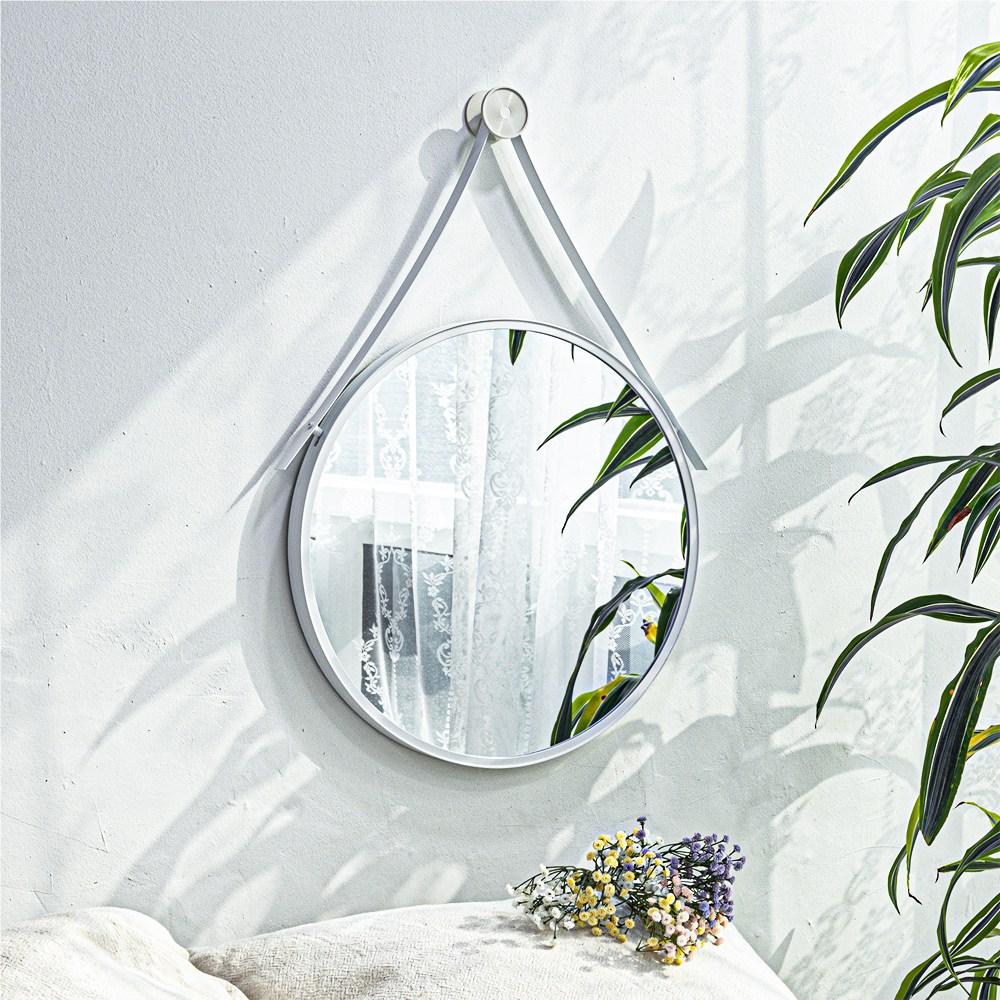 모카 알루미늄 원형 스트랩 거울 (골드 블랙 화이트 핑크 민트), 원형 스트랩 거울 - 화이트